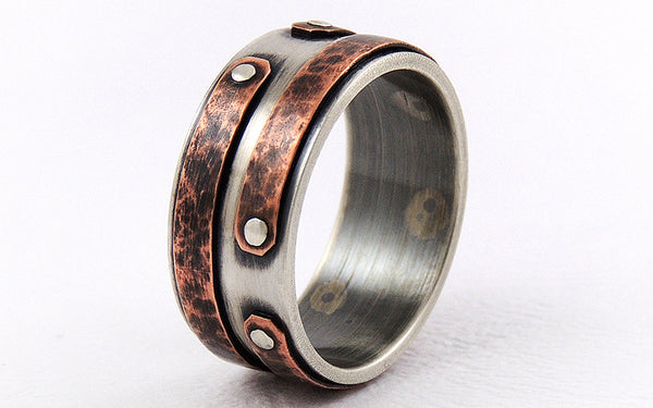 One-of-a-Kind Rustic Copper Engagement Men's Ring