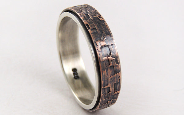 Discover this Handmade Rustic Engagement Ring for Men made of Silver and Textured Copper