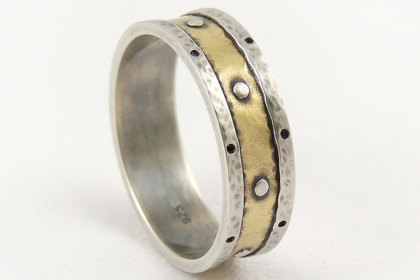 One-of-a-Kind Rustic Silver Gold Wedding Ring handmade of Silver and 14K Gold