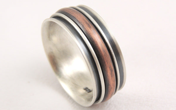 Unique Rustic Man's Wedding Band made of Silver and Copper