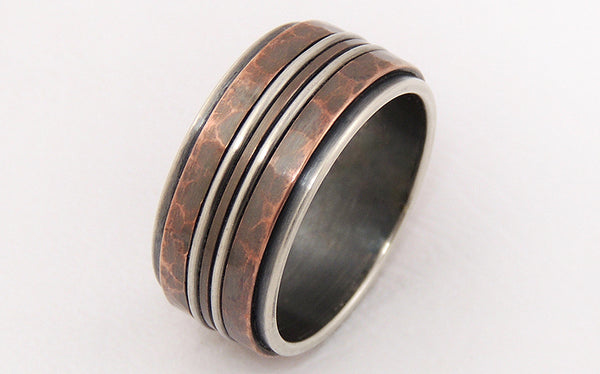 Rustic Men's Ring uniquely handmade of oxidized Copper and Silver