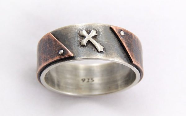 Rustic mens wedding cross ring