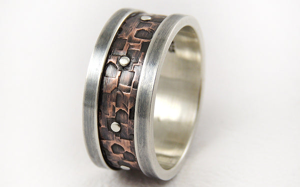 Two-tone unique handmade men's ring