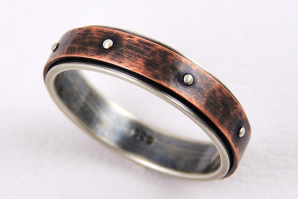 Rustic wedding band for men or woman