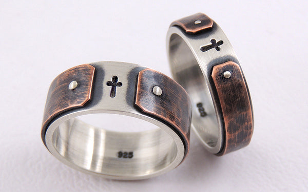Rustic Wedding Bands Set, Handmade Christian Couple Rings