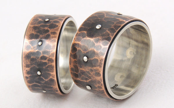 One-of-a-Kind Rustic Wide Wedding Rings Set, Handmade of Silver and Copper
