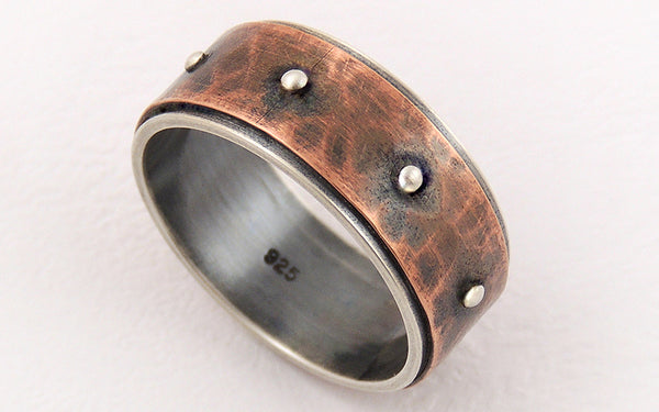 One-of-a-Kind Men's Rustic Wedding Ring handmade of Silver and Copper