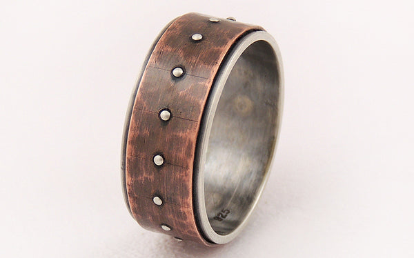 Silver Copper Unique Engagement Ring uniquely handmade to get this rustic character