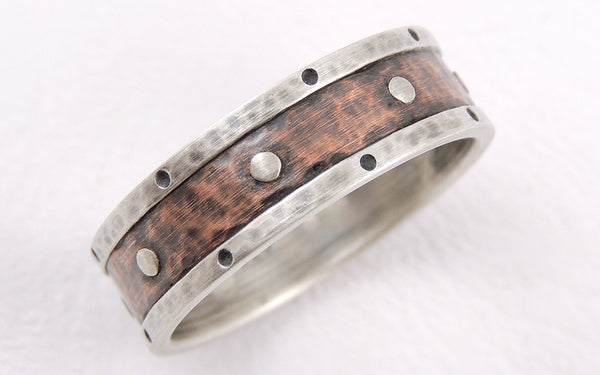 Two-tone Silver Copper Handmade Wedding Ring
