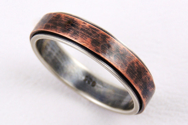 Unique 5mm Wedding Band, Handmade of Silver and Copper