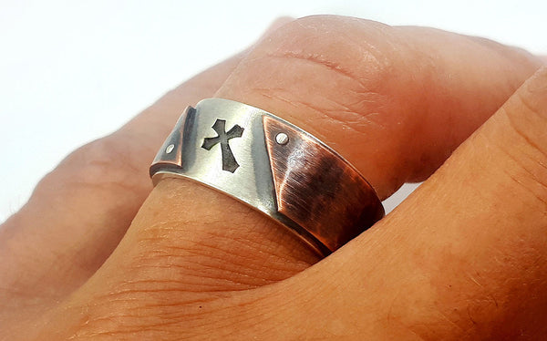 Unique cross wedding ring