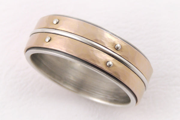 Unique silver gold wedding band