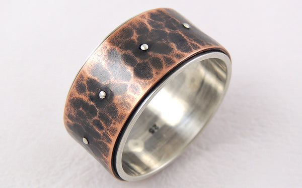 Unique wide mens ring