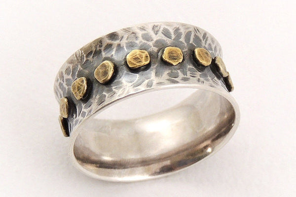 Rustic wide silver ring