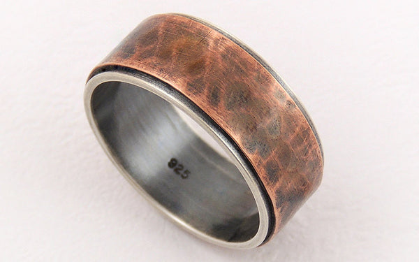 Unique rustic mens ring