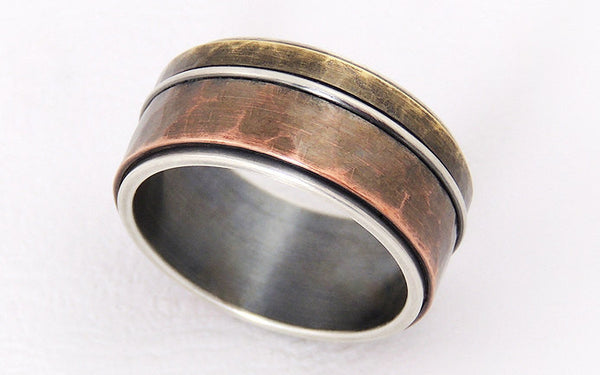Rustic mixed metal men ring