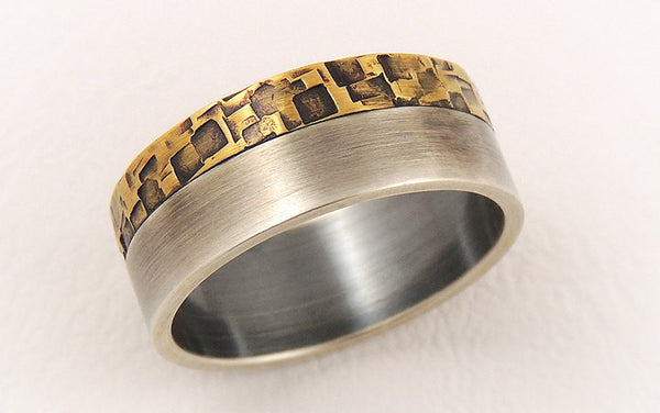 Elegant rustic mens ring
