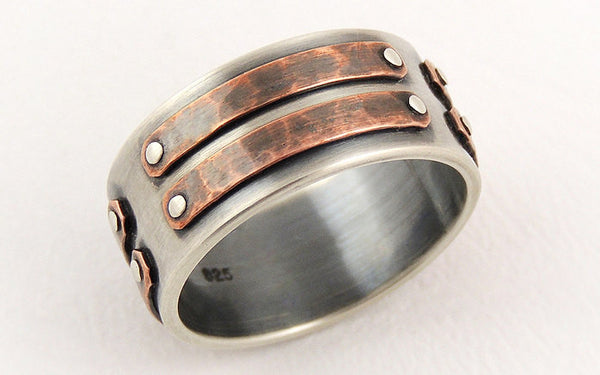Silver copper mens ring