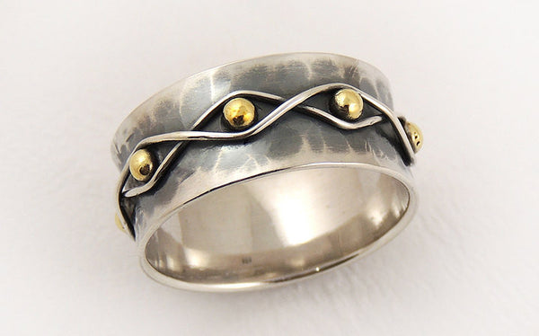 Wide wedding band ring