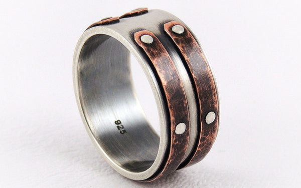 Unique mens wedding band ring