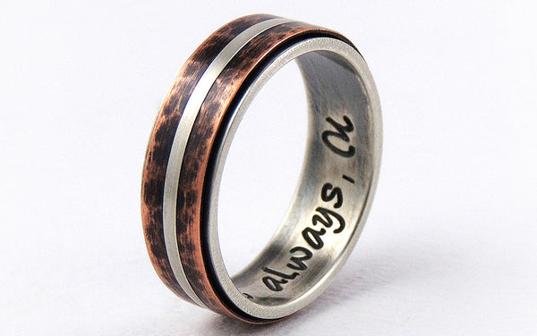 Silver copper wedding band ring
