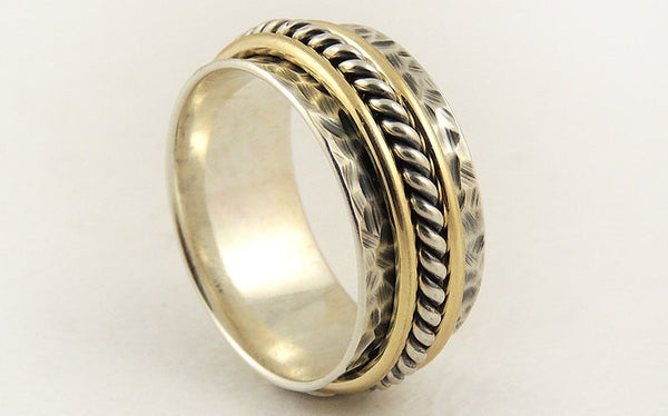 Wide 14K gold silver ring