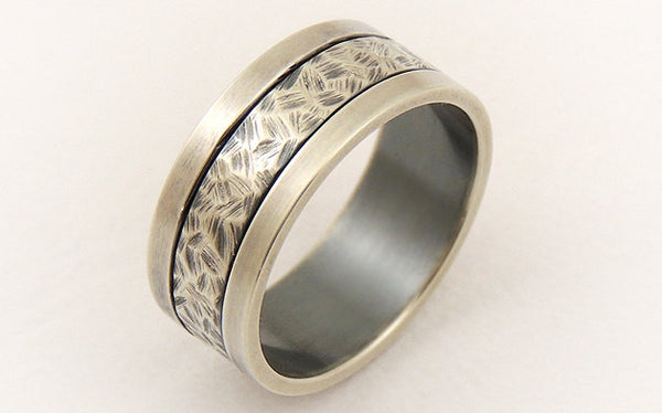 Silver wide ring for men