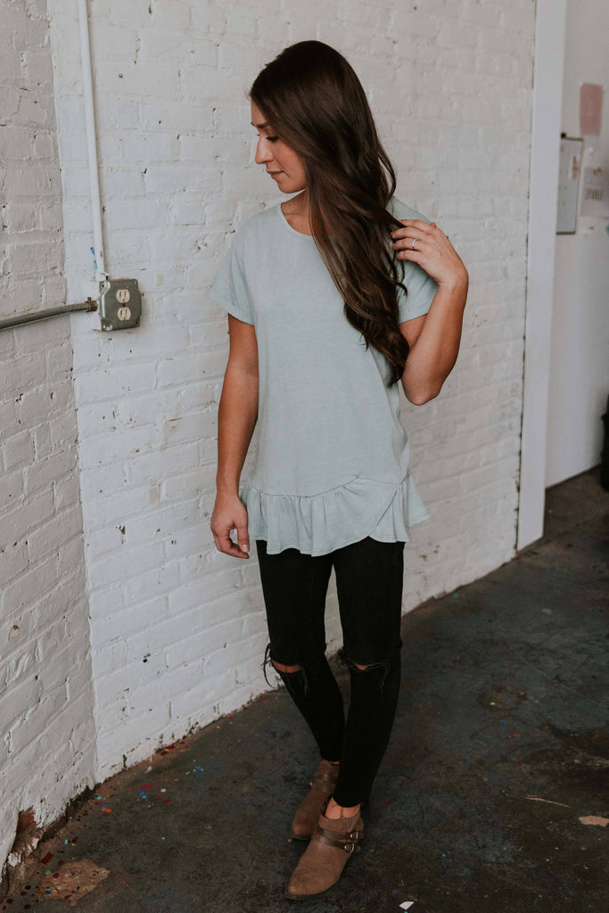 Mint Ruffle Tee - Nell and Rose
