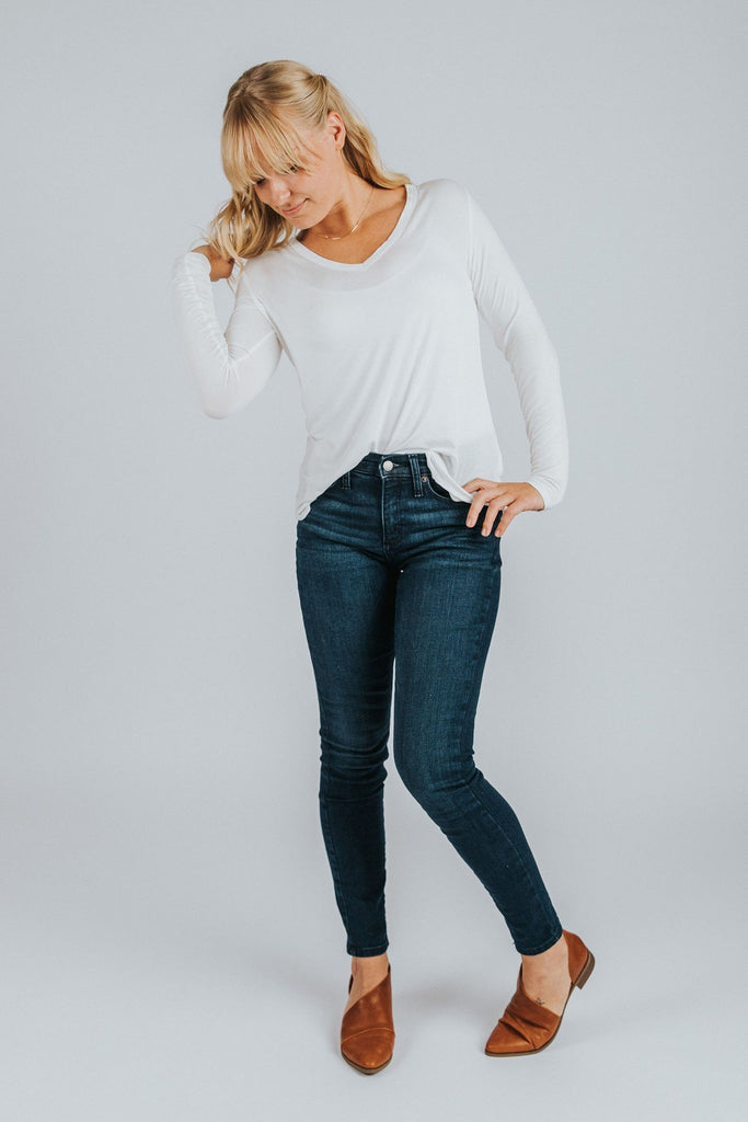 Long Sleeve V-Neck Tee in White - Nell and Rose