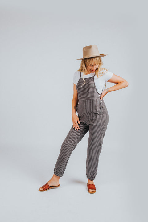 Striped Jumpsuit in Gray
