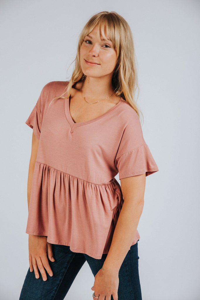 Parker Peplum in Rose - Nell and Rose