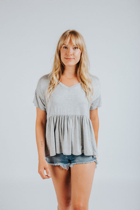 Parker Peplum in Gray - Nell and Rose