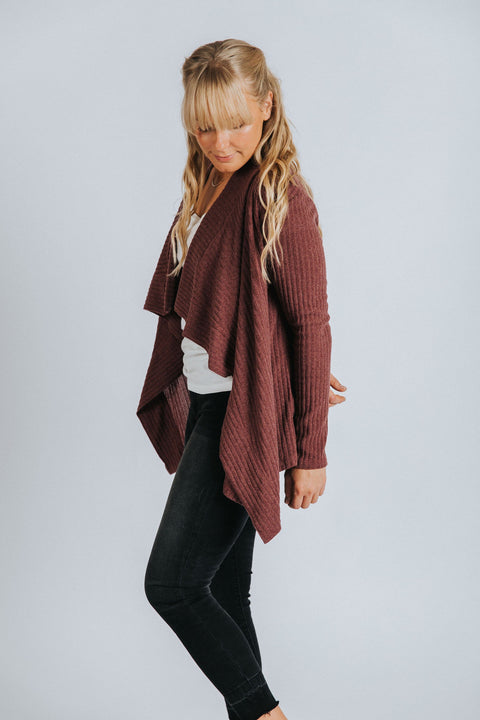 Brooklyn Cardigan in Mauve - Nell and Rose
