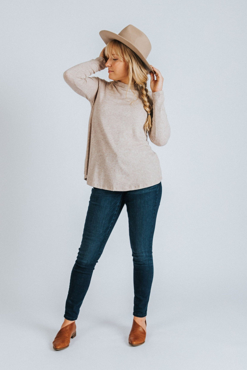 Zoe Mock Neck Top - Nell and Rose