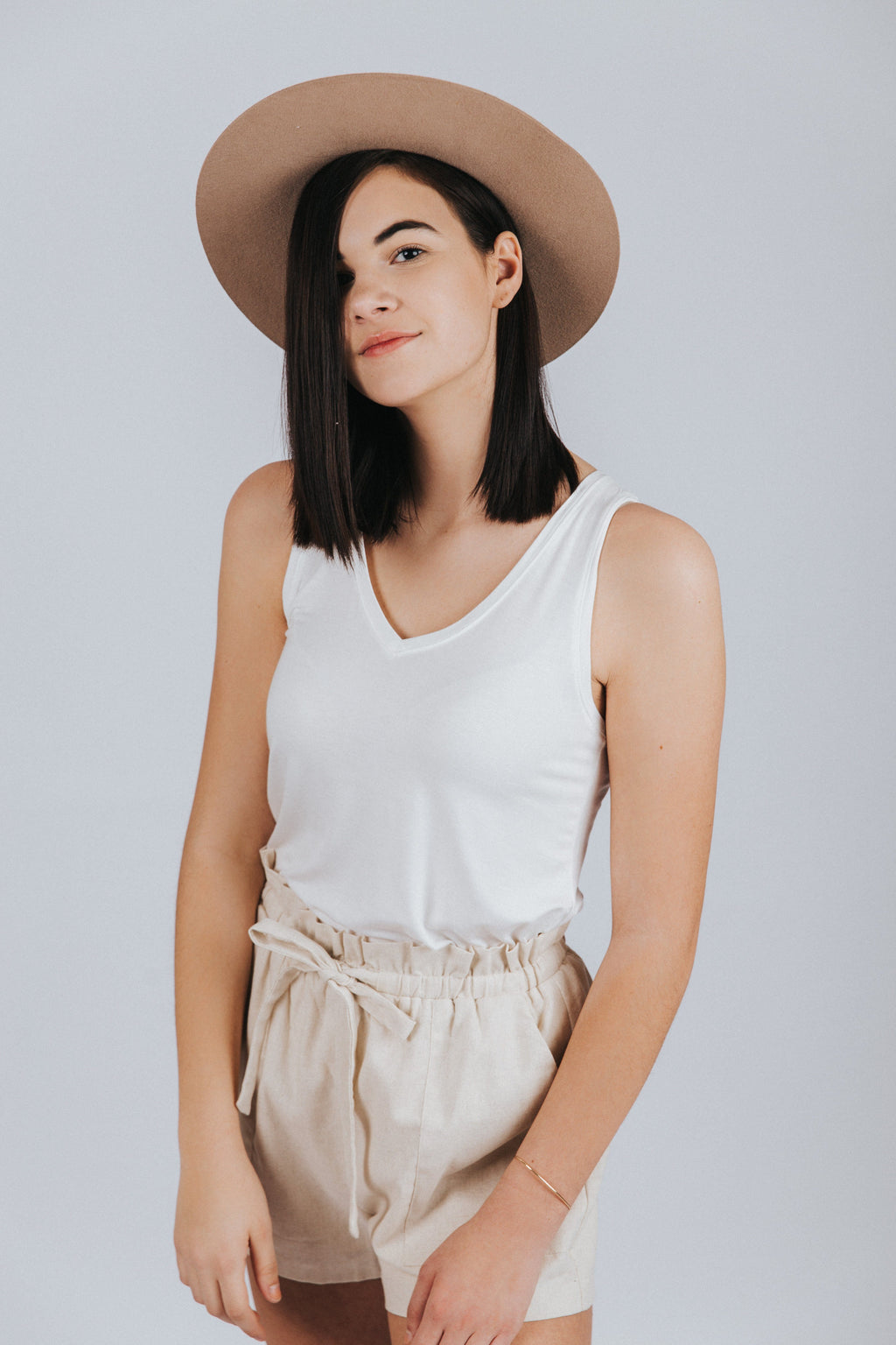 Everyday V-Neck Tank in White - Nell and Rose