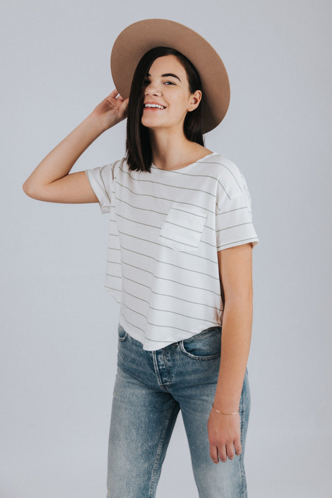 Striped Swing Tee in White - Nell and Rose