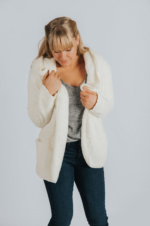 Fargo Open Front Jacket in Ivory - Nell and Rose