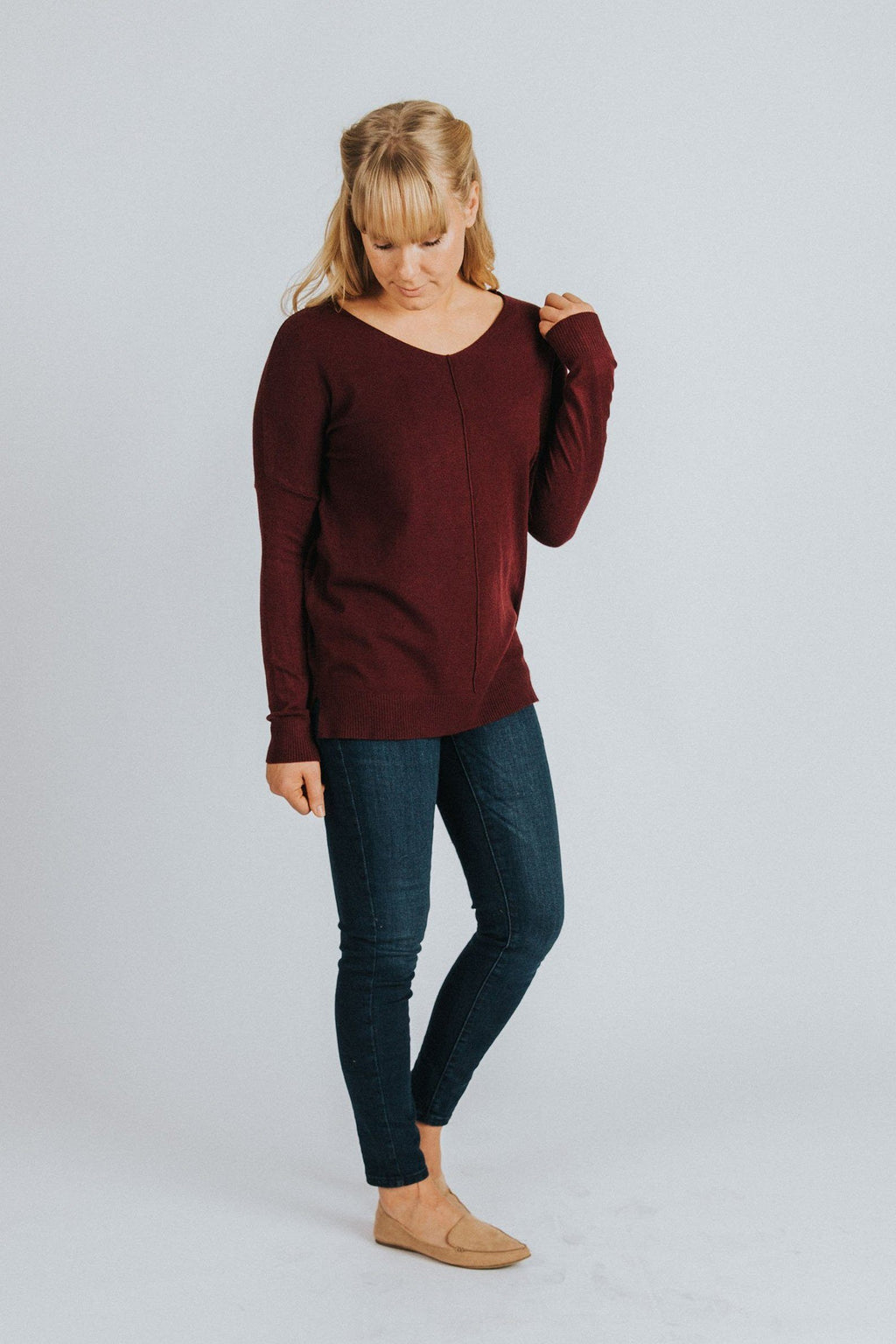 Ruby Sweater in Burgundy - Nell and Rose