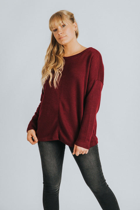 Devon Pullover in Burgundy - Nell and Rose