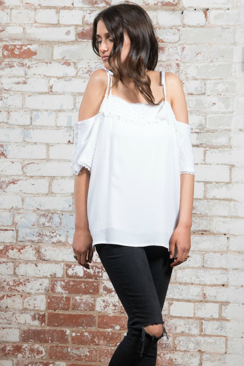 Lace Contrast Cold Shoulder Top