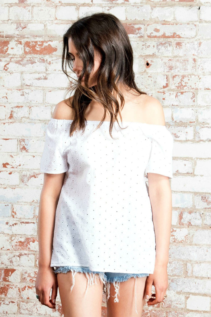 Eyelet Embroidered Off Shoulder Top - Nell and Rose