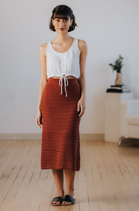 Camille Crochet Skirt in Brick