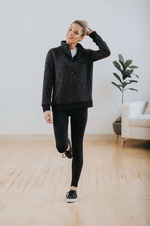 Aspen Quilted Pullover in Black - Nell and Rose