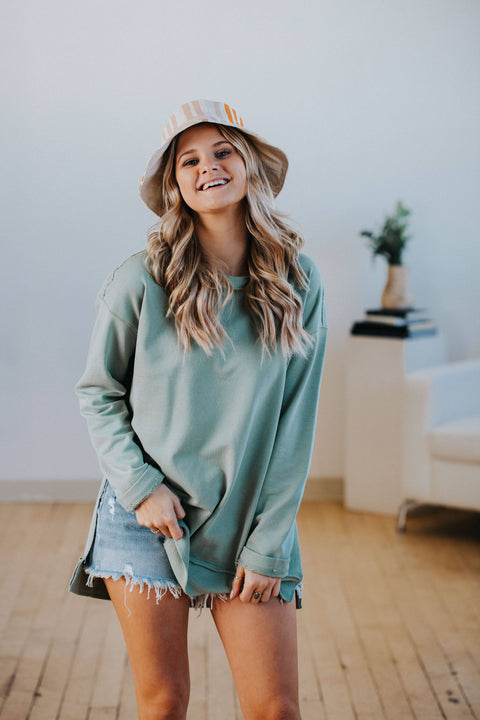 Jessa Tunic Sweatshirt in Sage