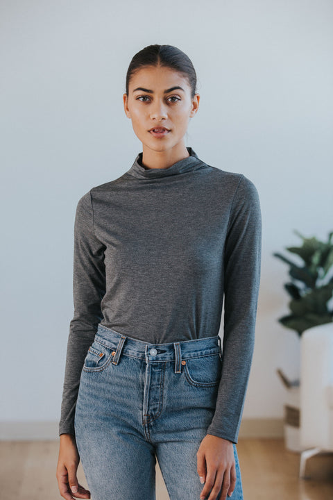 Clare Mock Neck in Charcoal