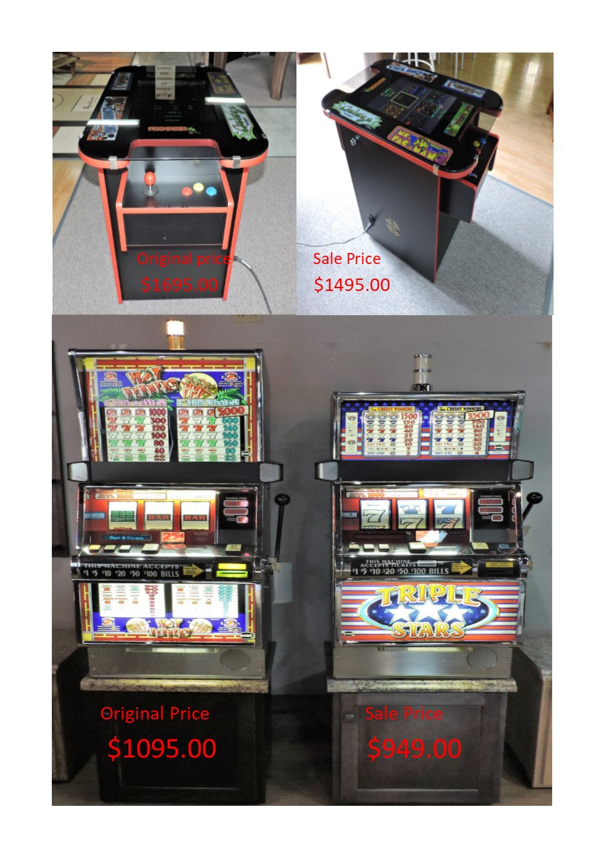 Cocktail arcade game and one arm bandits