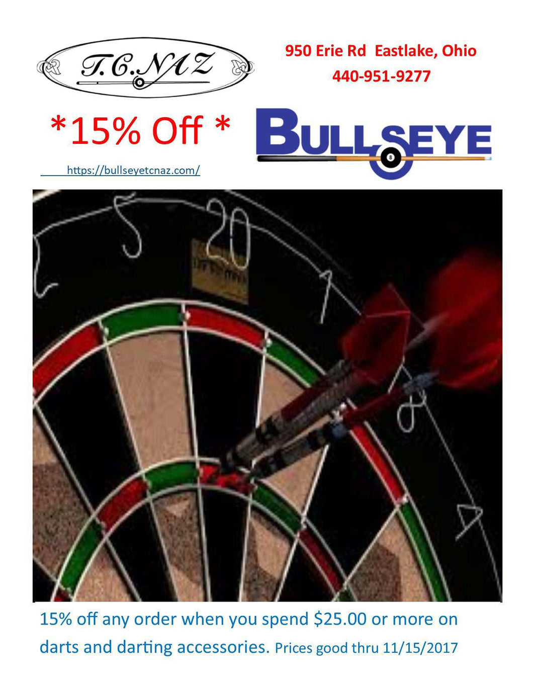 Dart special for 15% off
