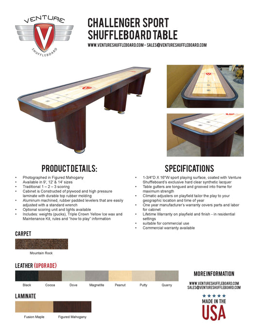 Challenger Sport Shuffleboard table