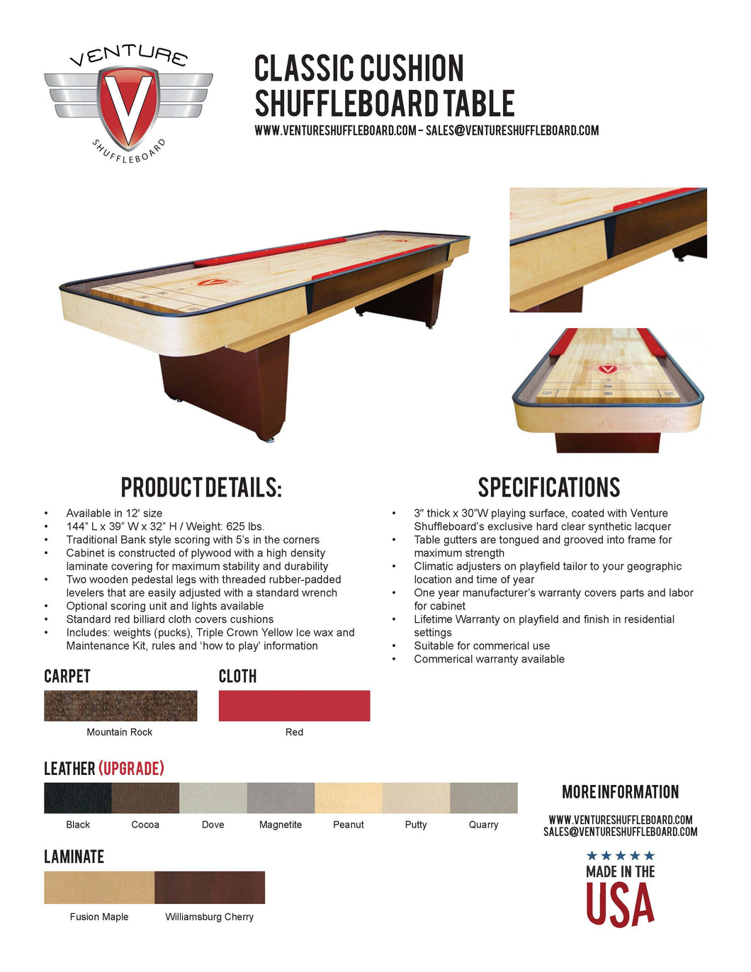 Classic Cushion Shuffleboard Table