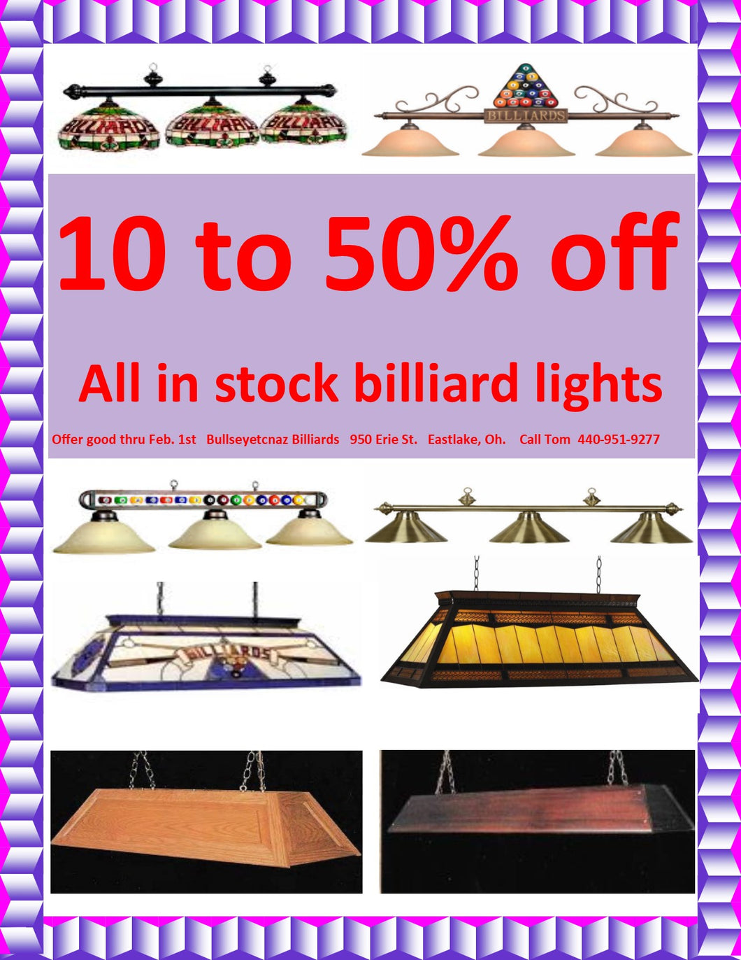 10% to 50% off all in stock billiard lights.